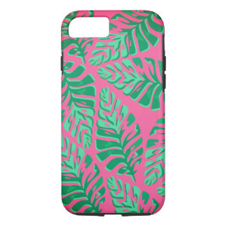 Colourful green and pink leaves iPhone case