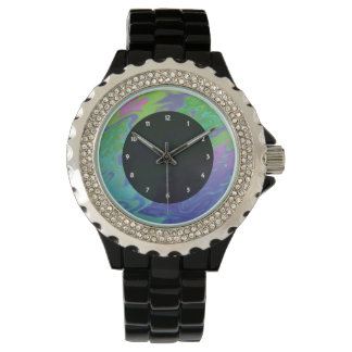 Colourful green blue splash abstract wrist watches