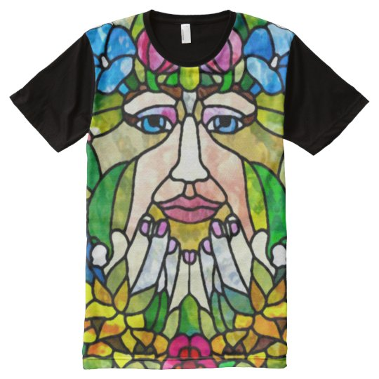 Colourful Green Mother Earth Watercolor Art All-Over-Print T-Shirt