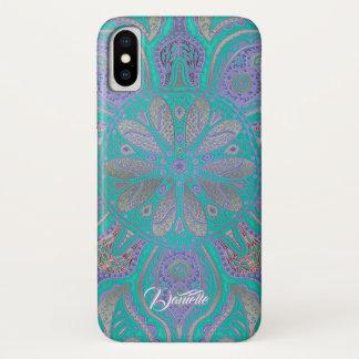 Colourful Green Purple Gold Mandala iPhone X Case