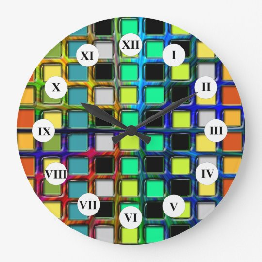 Colourful Grid-Tiled by Shirley Taylor Large Clock