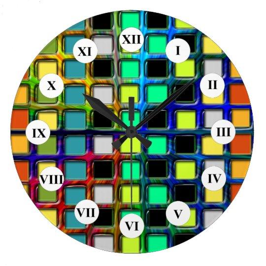 Colourful Grid-Tiled by Shirley Taylor Wallclock