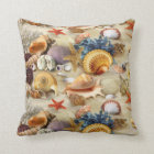 Colourful Group of Seashells Throw Pillow