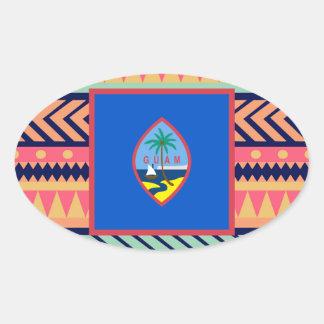 Colourful Guam Flag Box Oval Sticker