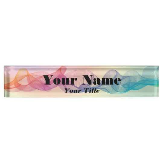 Colourful Guilloche Lines Name Plate
