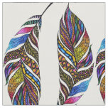 Colourful Hand Drawn Pattern Feathers Fabric