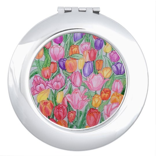 Colourful Hand Drawn Tulips Compact Mirror