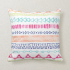 Colourful Hand Drawn Watercolor Tribal Pillow