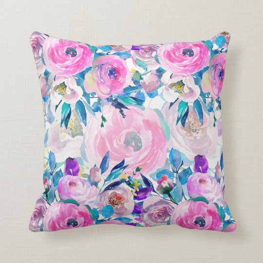 Colourful Hand Drawn Watercolors Floral Collage Throw Pillow