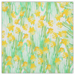 Colourful hand painted watercolor daffodil flowers fabric