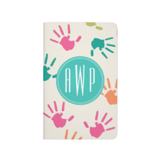 Colourful Handprints Monogram Teacher Journal