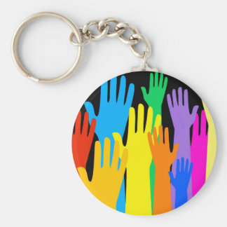 Colourful Hands Basic Round Button Keychain