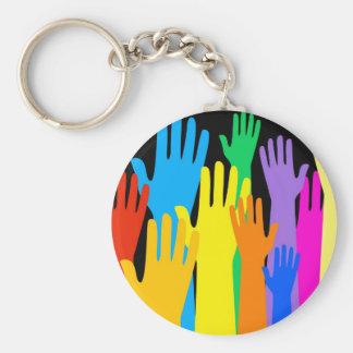 Colourful Hands Basic Round Button Keychain