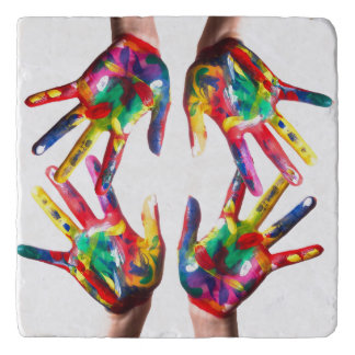 Colourful Hands Printed  Marble Stone Trivet
