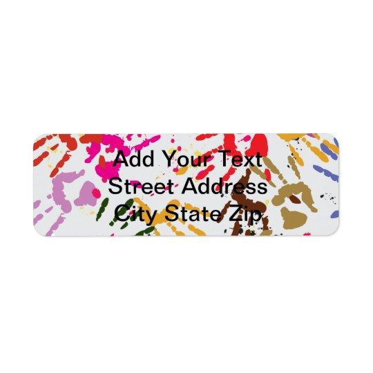 Colourful Hands Return Address Label