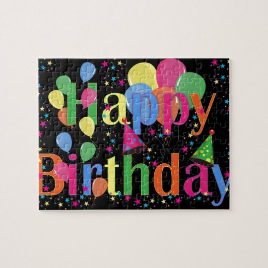 Colourful Happy Birthday and Balloons Jigsaw Puzzle