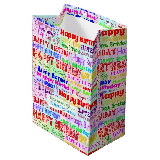 Colourful happy birthday with custom message medium gift bag