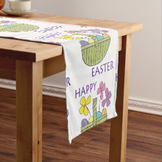 Colourful Happy Easter Short Table Runner