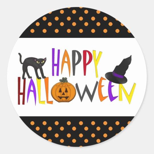 Colourful Happy Halloween Classic Round Sticker