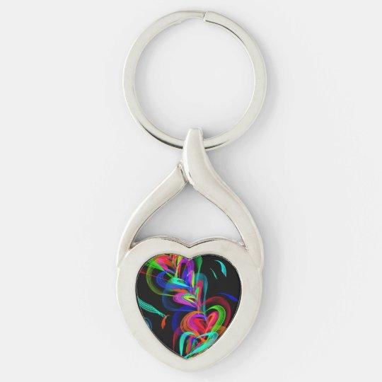 Colourful Heart Doodle Keychain