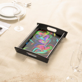 Colourful Heart Doodle Serving Tray