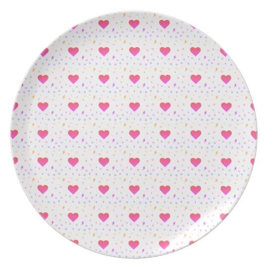 Colourful Heart Kawaii Pattern Plate