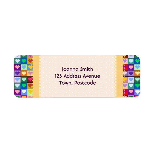 Colourful Heart Squares Return Address Label