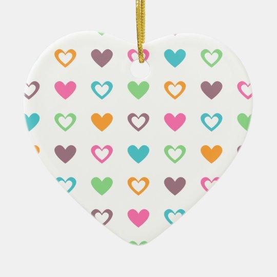 colourful hearts ceramic ornament