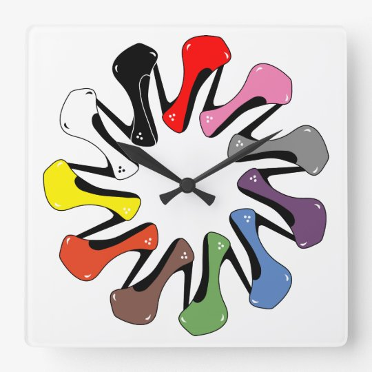 Colourful Heels Square Wall Clock