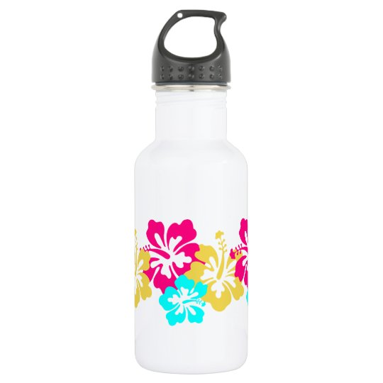 Colourful Hibiscus Design 532 Ml Water Bottle
