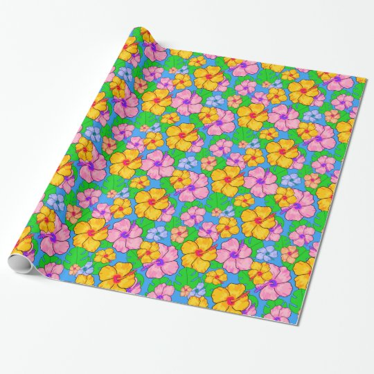 Colourful hibiscus floral gift wrap