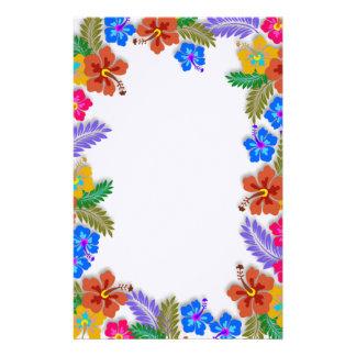 Colourful Hibiscus Garden Border Blank White Paper