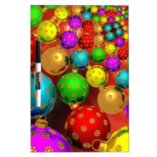 Colourful Holiday Christmas Tree Ornaments Gold Dry Erase Boards