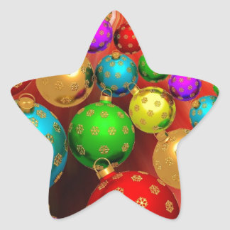 Colourful Holiday Christmas Tree Ornaments Gold Sticker