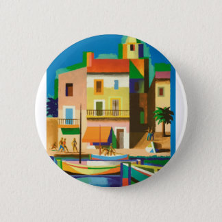 Colourful holiday scene 2 inch round button