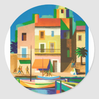 Colourful holiday scene classic round sticker