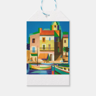 Colourful holiday scene gift tags