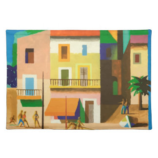 Colourful holiday scene placemat