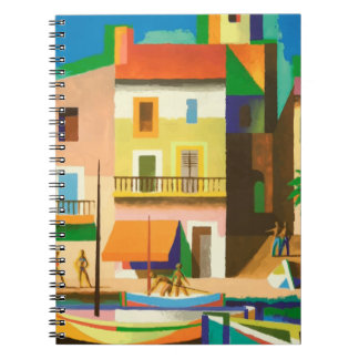 Colourful holiday scene spiral notebook