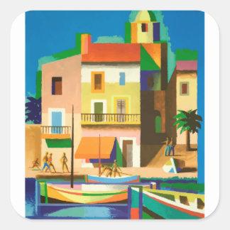 Colourful holiday scene square sticker