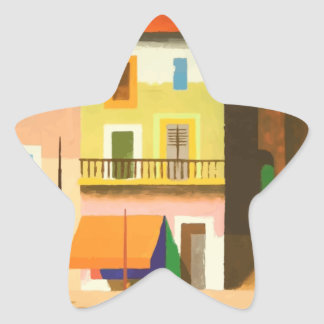 Colourful holiday scene star sticker