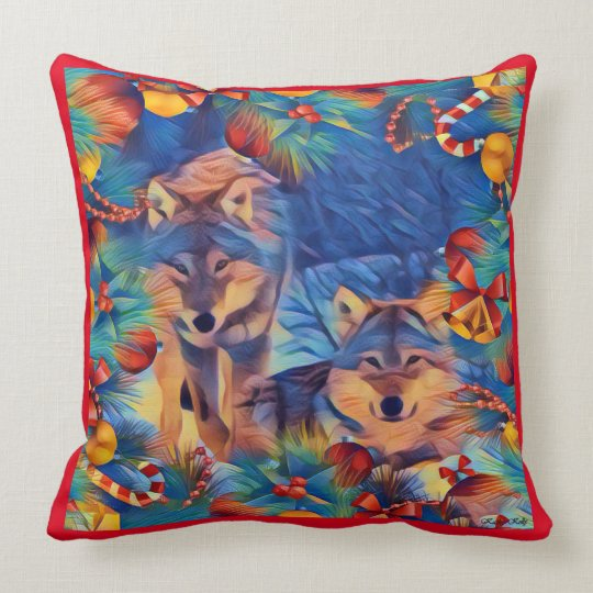 Colourful Holiday Wolves Throw Pillow