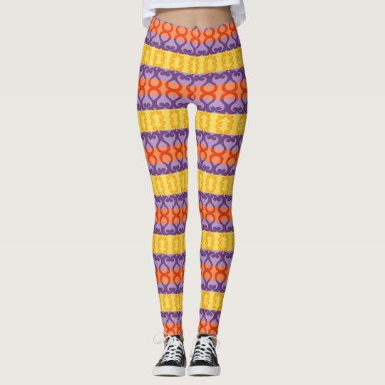 Colourful Horizontal Stripes Girly Designer Leggings