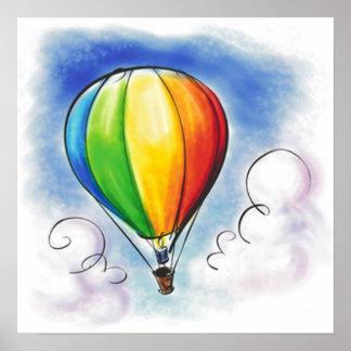 Colourful Hot air Balloon paint poster