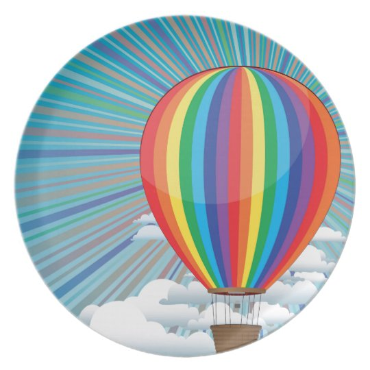 Colourful Hot Air Balloon Plate