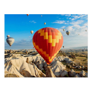 Colourful hot air balloon postcard
