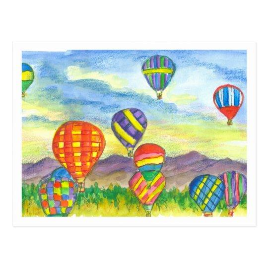 Colourful Hot Air Balloons Watercolor Postcard
