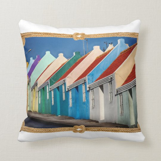 Colourful House Pattern With Rope Border On White Throw Pillow