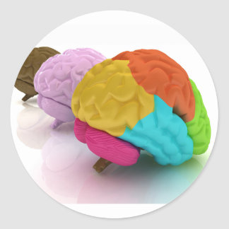 Colourful Human Brains Stickers