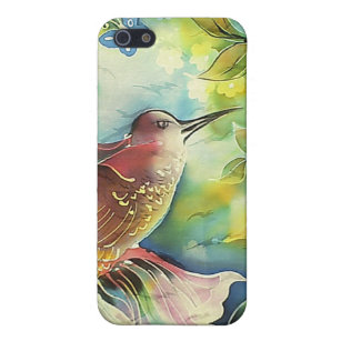 Colourful Hummingbird Silk Art Painting iPhone 5 Case